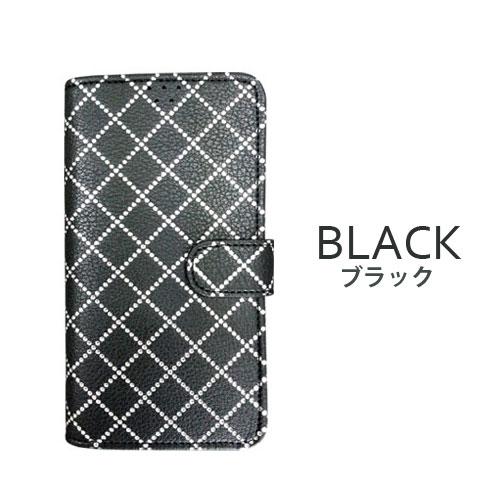 画像1: LG JOJO L-02K ケース 保護フィルム 付き au JOJO L-02K カバー カード収納 手帳 手帳型 JOJO L-02K 携帯ケース 携帯カバー おしゃれ デコ 耐衝撃 可愛い 合成レザー スマホケース JOJO L-02K DIAMOND(Black)
