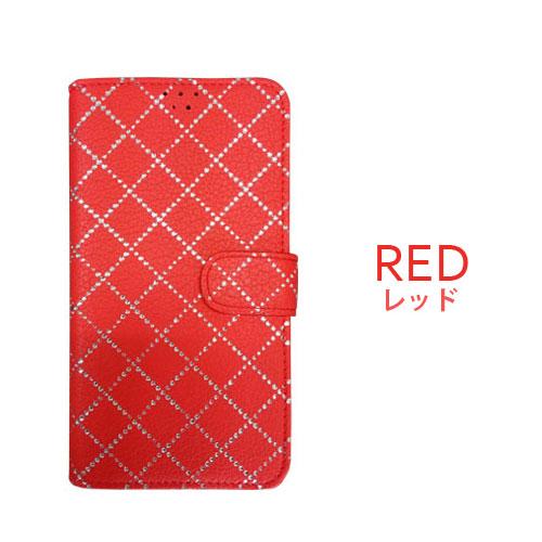 画像1: LG JOJO L-02K ケース 保護フィルム 付き au JOJO L-02K カバー カード収納 手帳 手帳型 JOJO L-02K 携帯ケース 携帯カバー おしゃれ デコ 耐衝撃 可愛い 合成レザー スマホケース JOJO L-02K DIAMOND(Red)