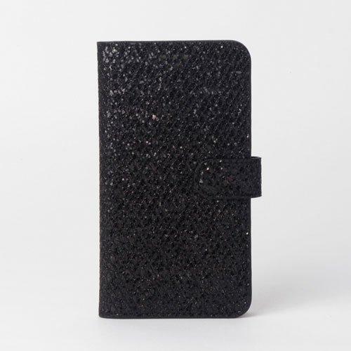 画像1: LG JOJO L-02K ケース 保護フィルム 付き au JOJO L-02K カバー カード収納 手帳 手帳型 JOJO L-02K 携帯ケース ラメ付きカバー おしゃれ デコ 耐衝撃 可愛い 合成レザー スマホケース JOJO L-02K TWINKEL(Black)