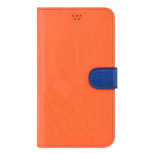画像1: LG JOJO L-02K ケース 保護フィルム 付き au JOJO L-02K カバー カード収納 手帳 手帳型 JOJO L-02K 携帯ケース 携帯カバー おしゃれ デコ 耐衝撃 可愛い 合成レザー スマホケース JOJO L-02K VIVID(Orange)