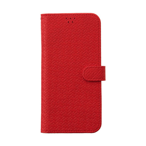 画像1: LG JOJO L-02K ケース 保護フィルム 付き au JOJO L-02K カバー カード収納 手帳 手帳型 JOJO L-02K 携帯ケース 携帯カバー おしゃれ デコ 耐衝撃 可愛い 合成レザー スマホケース JOJO L-02K WEAVE(Red)